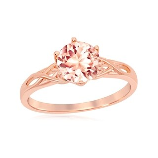 Link to La Preciosa Sterling Silver Rose Gold Plated Six-Prong 7mm Round Morganite CZ w/ Designed Band Ring Similar Items in Earrings