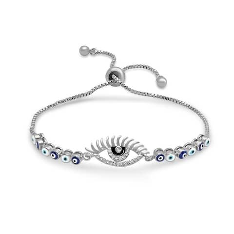 Piatella Ladies Brass Evil Eye Cubic Zirconia and Enamel Drawstring Bracelet in 3 Colors
