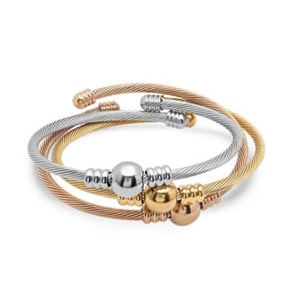 Piatella Ladies Tri-Colored Stainless Steel Cable Wire Bracelets with Bead Accents