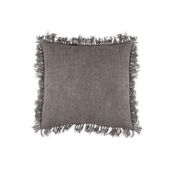 Fab Habitat Antwerp Linen Decorative Fringe Pillow - Bark (20' x 20')