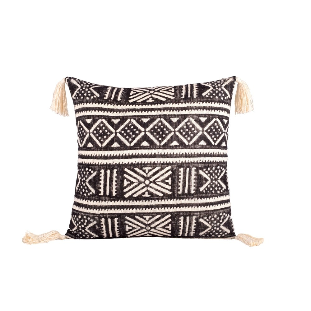 Zanzibar Square Throw Pillow In Ivory