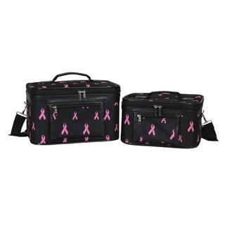 World Traveler Pink Ribbon 2-Piece Train Cosmetic Case Set