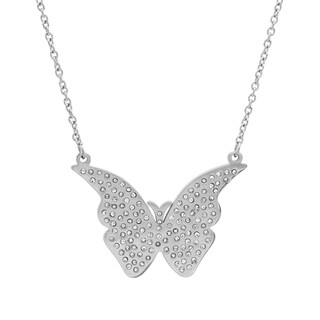 Piatella Ladies Stainless Steel Cubic Zirconia Butterfly Necklace in 3 Colors