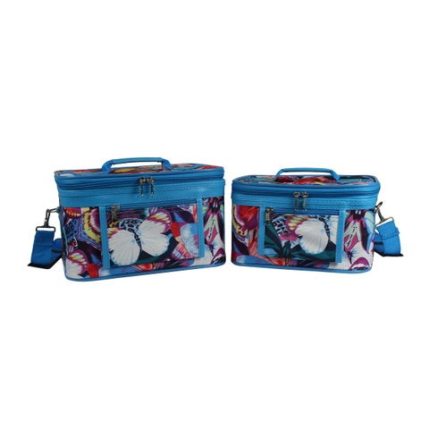 World Traveler Blue Trim Butterfly 2-Piece Train Cosmetic Case Set