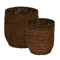 Water Hyacinth Round Rimmed Basket Set of 2
