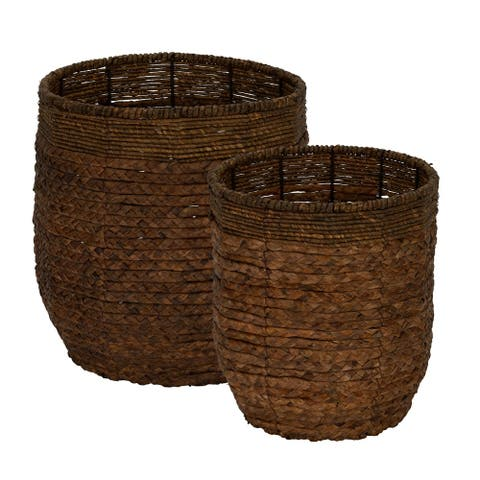 Water Hyacinth Round Rimmed Basket Set of 2