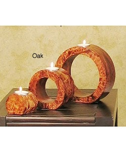 Ringed Mango Wood Candle Holders (Set of 3)