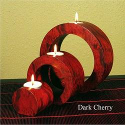 Ringed Mango Wood Candle Holders (Set of 3)
