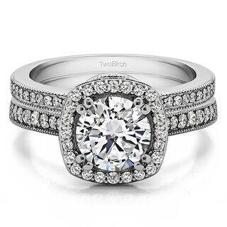 TwoBirch Bridal Set Two Rings In 10k Gold Set With Moissanite 1 99tw