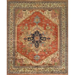 "Serapi Collection Hand-Knotted Rust/Beige Wool Rug (4' 1"" X 6' 0"") - 4' x 6'"