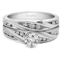 TwoBirch Bridal Set (Two Rings) in 10k Gold set with Moissanite (0.75tw )