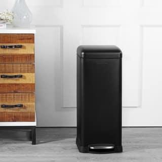 happimess Betty Retro 8-Gallon Step-Open Trash Can, Black