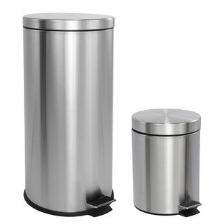 happimess Oscar 8-Gallon Step-Open Trash Can with FREE Mini Trash Can, Stainless Steel