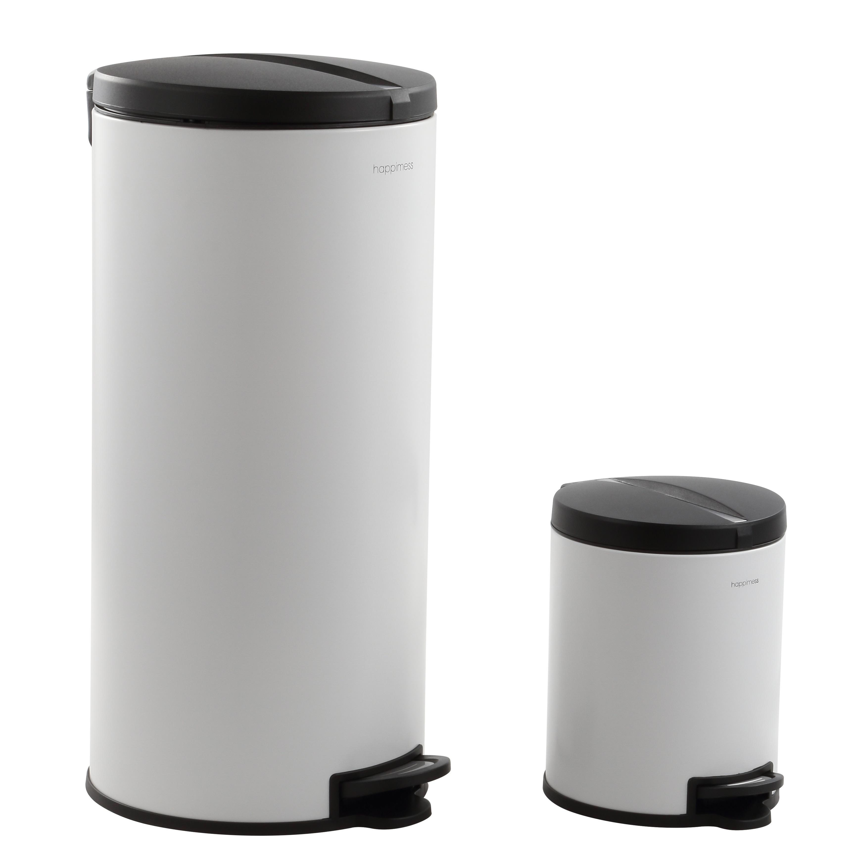 happimess Oscar Round 8-Gallon Step-Open Trash Can with FREE Mini Trash  Can, White/Black