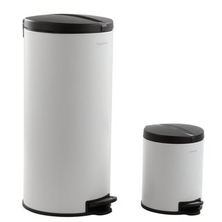 happimess Oscar Round 8-Gallon Step-Open Trash Can with FREE Mini Trash Can, White/Black