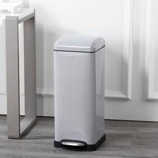 happimess Betty Retro 8-Gallon Step-Open Trash Can, Gray