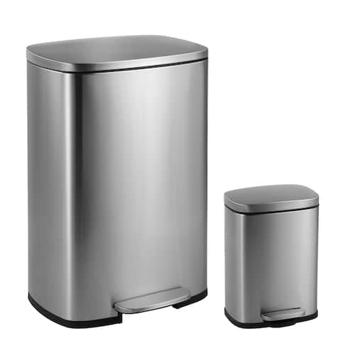 happimess Connor Rectangular 13-Gallon Trash Can with Soft-Close Lid and FREE Mini Trash Can, Stainless Steel