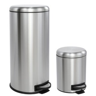 happimess Oscar Round 8-Gallon Step-Open Trash Can with FREE Mini Trash Can, Stainless Steel