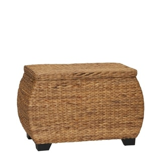 Curved Lidded Chest, Natural Water Hyacinth