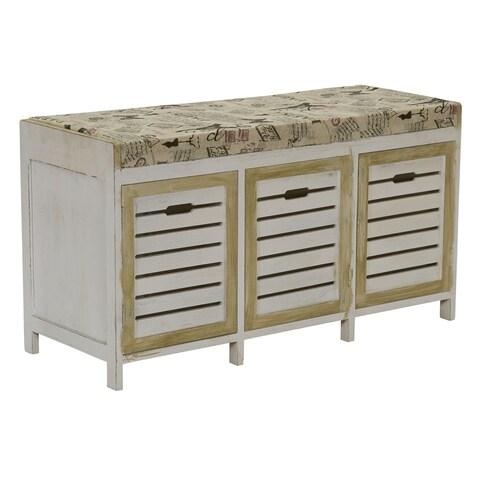 3 Door Bench with Cushion, Whitewash
