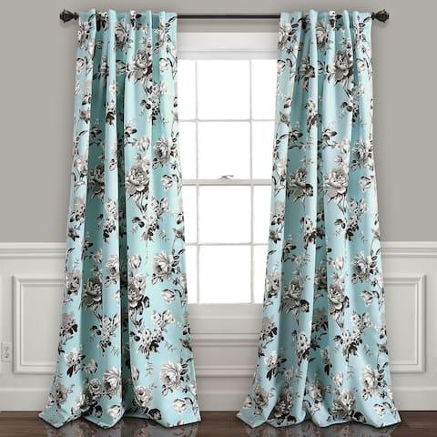 Lush Decor Tania Floral Room Darkening Window Curtain Panel Pair