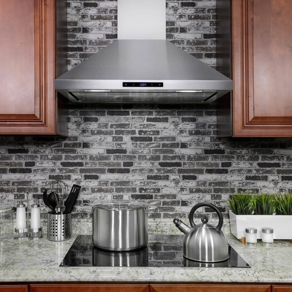 """AKDY RH0202 36"""" Stainless Steel Wall Mount Range Hood Touch Screen with Carbon Filters"""