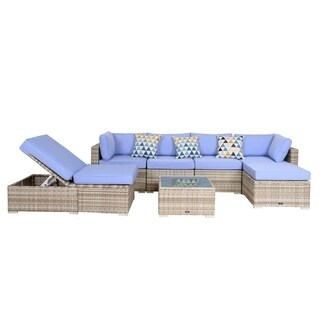 BroyerK 7-piece blue Outdoor Rattan Patio Furniture Set lounge chair