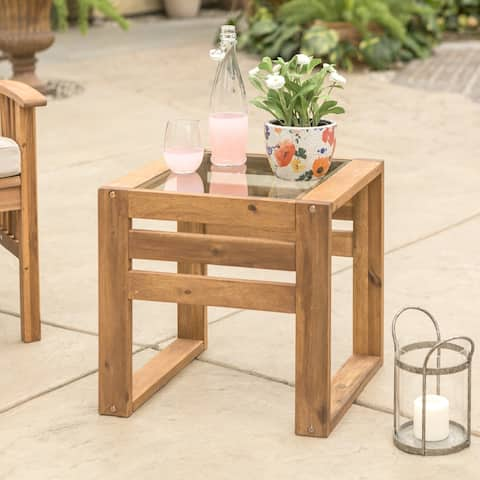 Hudson Acacia Outdoor Side Table - 20 x 20 x 18h