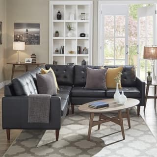 Shawna Black On Tufted Leather Gel L Shape Sectionals By Inspire Q Modern
