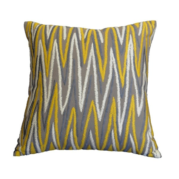 "AM Home Grey & Gold Chevron Emb. Pillow, Feather Insert, 20"" x 20"""