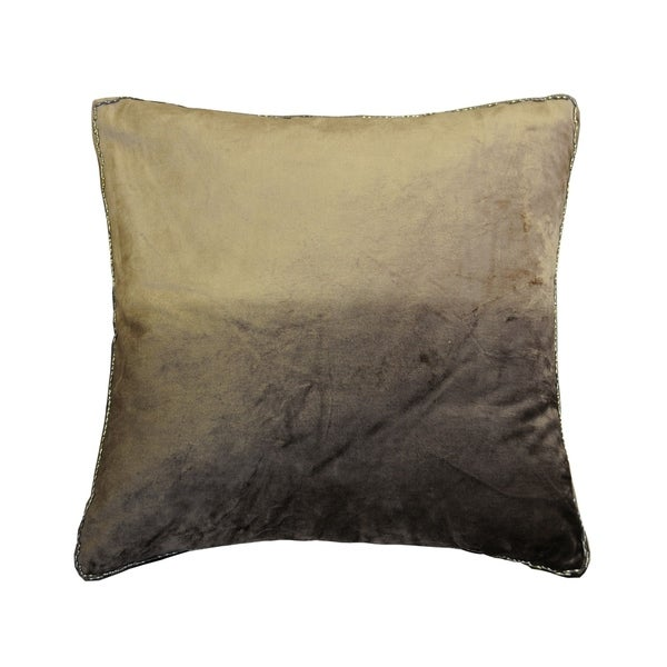 AM Home Ombre Velvet Pillow With Beads Edge, Feather Insert
