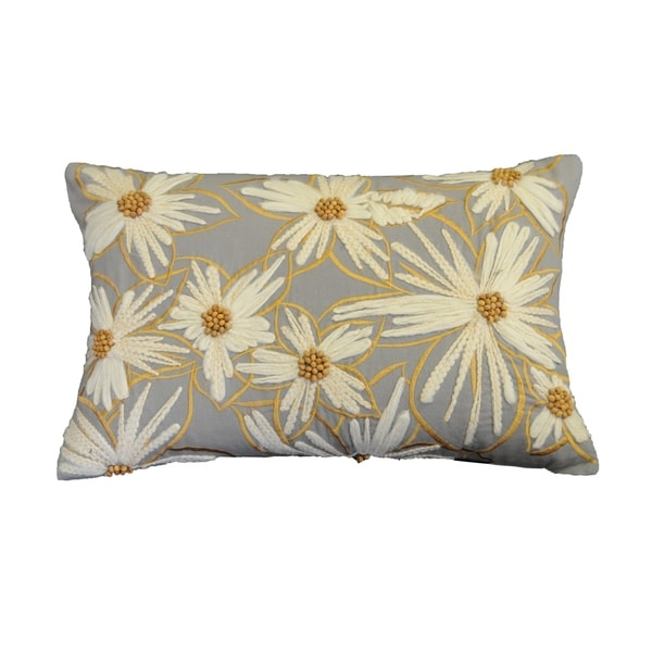 Shop AM Home Embellished Daisy Decorative Pillow Feather Insert 40 Delectable Embellished Decorative Pillows