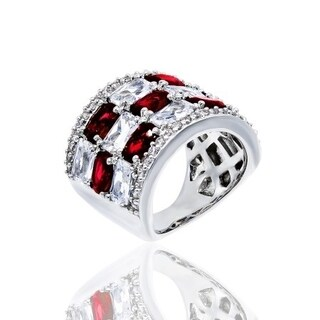 Simulated Ruby and Clear Cubic Zirconia Checkerboard Style Ring