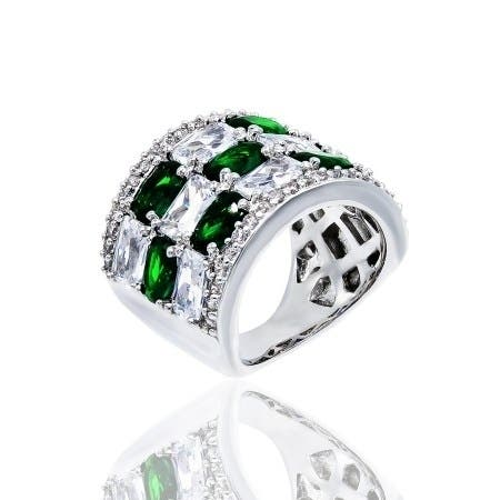 Simulated Emerald and Cubic Zirconia Checkerboard Style Ring