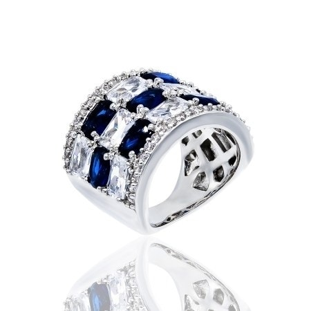 Simulated Sapphire and Clear Cubic Zirconia Checkerboard Style Ring - Blue
