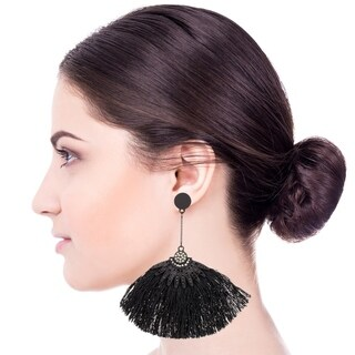 Handmade Saachi Boho Fringe Earring (China) - black