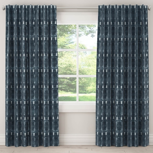 Skyline Shibori Unlined Curtain in Bali Indigo