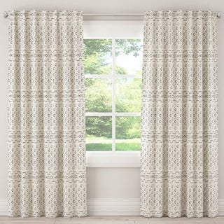 Skyline African Mud Cloth Unlined Curtain in Bishal Cream