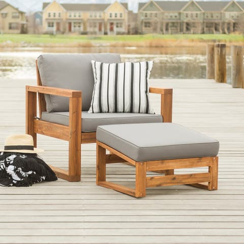 Hudson Brown Acacia Outdoor Chair and Ottoman Set with Grey Cushions