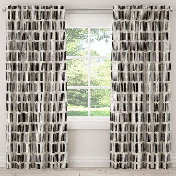 Skyline Unlined Curtain in Dash Black