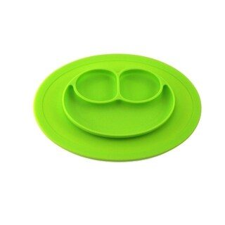 Silicone Feeding Placemat and 3-Section Plate (Option: Red)