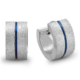 Piatella Ladies Stainless Steel and Blue IP Stainless Steel Sandblast Earrings