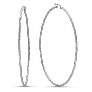 Piatella Ladies Stainless Steel 90mm Hammered Twist Hoop Earrings in 2 Colors