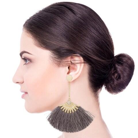 Handmade Saachi Boho Fringe Earring (China) - grey