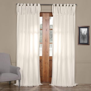 """Exclusive Fabrics Solid Cotton Tie-Top Curtain 96""""L in Fresh Popcorn (As Is Item)"""