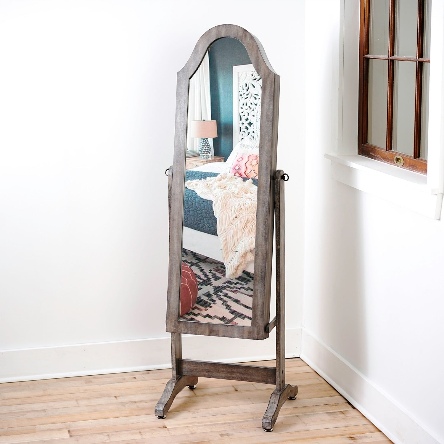 Bell Shape Grey Full Length Mirror With Jewelry Storage On Sale Overstock 19887118
