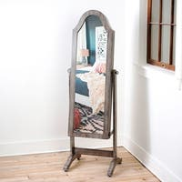 Bell Shape Grey Full-Length Mirror with Jewelry Storage by Hives & Honey