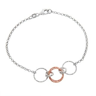 Eternally Haute Italian Two Toned 14k Rose Gold plated Solid Sterling Silver Circle Link Bracelet