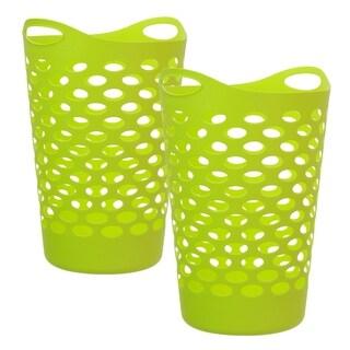 Tall Flex Laundry Basket, Green, 2 Pack