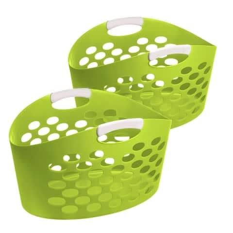 Oval Flex Laundry Basket Green, 2 Pack